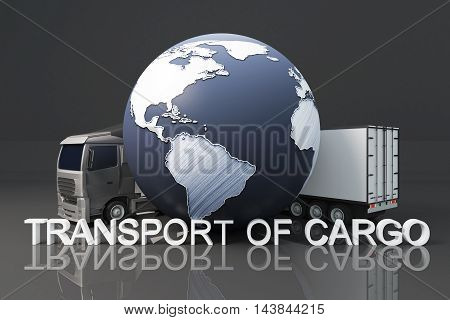 Truck with trailer and abstract terrestrial globe on dark background. Transport of cargo concept. 3D Rendering