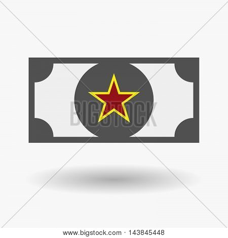 Isolated  Bank Note Icon With  The Red Star Of Communism Icon