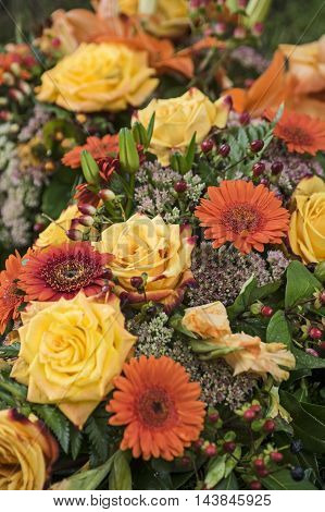 Flower Bouquet with yellow roses and orange gerbera