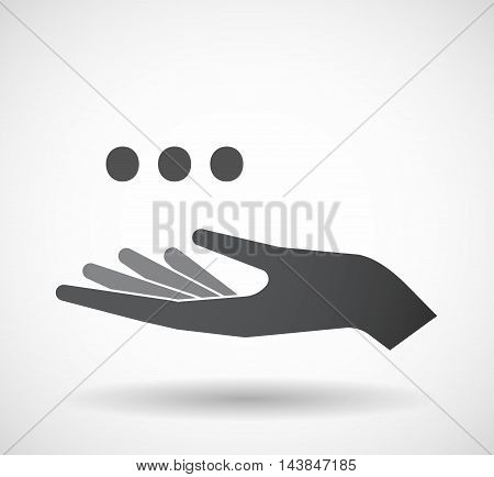 Isolated  Offerign Hand Icon With  An Ellipsis Orthographic Sign