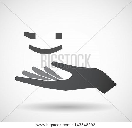 Isolated  Offerign Hand Icon With  A Wink Text Face Emoticon