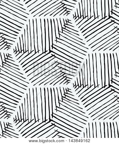 Rough Inked Hexagons On White