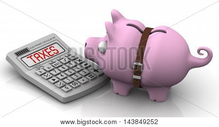 High taxes. Financial concept. Mumps - piggy bank with tightened strap looks at the calculator with the word