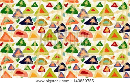 Rough Brush Colored Triangles With Stains