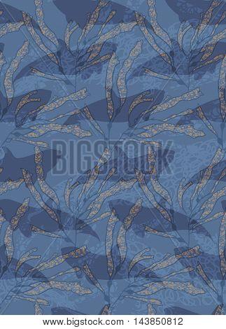 Underwater Blue Fish Overlapping Kelp