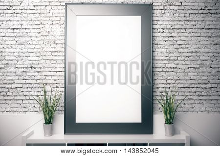 Blank vertical picture frame above document shelf with folders and decorative plants on white brick wall background. Mock up 3D Rendering