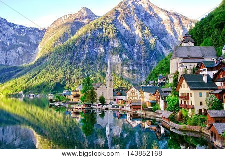 Beautiful View Of Alpine Hallstatt Town And Hallstattersee Lake. Salzkammergut, Austria.