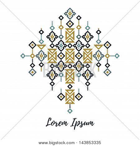 Trendy tribal elegant modern design element in a cross stich style
