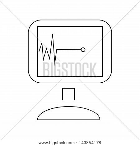 Monitor with cardiac arrest icon in outline style isolated on white background