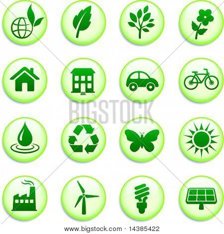 Green Environmental Buttons Original Vector Illustration Buttons Collection