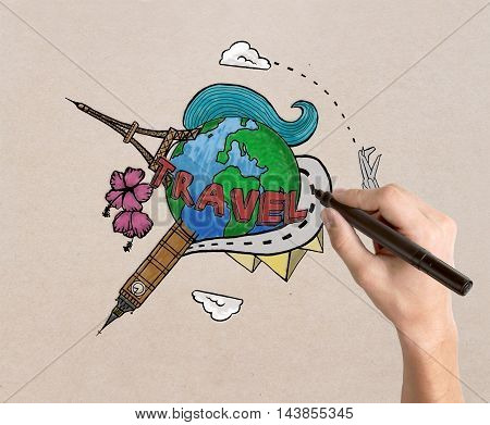 Female hand drawing travel sketch on light textured background. Traveling concept