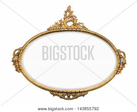 rustic vintage gold mirror isolated for pictures