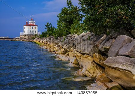 A Classic Lake Erie Lighthouse The Fairport Harbor West Breakwater Light On A Beautiful Day In Fairport Ohio USA