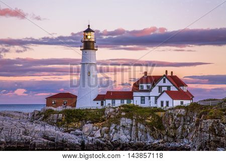 A Classic New England Lighthouse The Portland Head Light After Sunset Portland Maine USA