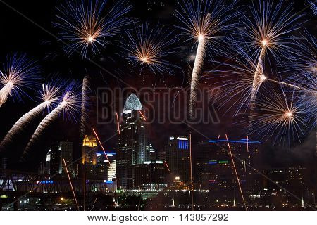 Fireworks Bursting Over The City Of Cincinnati During The Labor Day Fireworks Show 2013 Cincinnati Ohio USA