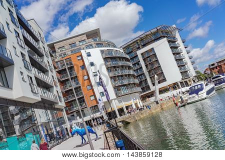 Southampton/UK. 21st August 2016. The Ocean Village Marina in Southampton is nearing the end of its 21 Century upgrade project with luxury apartments, restaurants and bars by the waterfront.