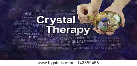 Crystal Therapy word cloud - female crystal therapist offering yellow stone from a selection of crystals in a brass dish, surrounded by a relevant word cloud on a dark blue night sky background