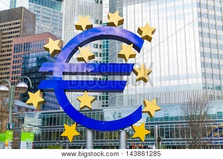 Frankfurt am Main, Germany- September 24, 2013: Giant Euro Sign in front of the European Central Bank in Frankfurt, Germany