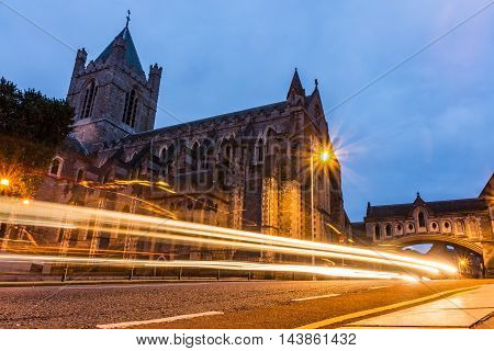 Christ Church Blue Hour Long Exposure Light Streaks Dublin Ireland