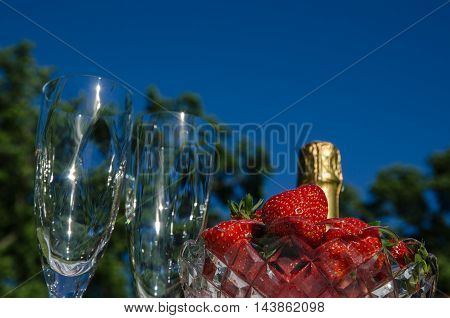 Celebration with a bottle of champagne two glasses and a bowl with strawberries outdoors by blue sky