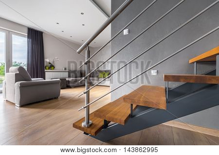 Open Plan Living Room With Staircase