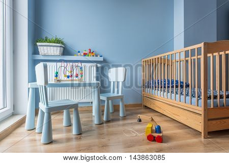 Baby Room In Light Blue Color