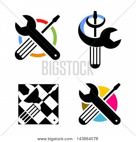 Isolated colorful technical tools vector logo. Mechanical equipment logotype. Round shape vector illustration. Adjustable wrench and screwdriver image