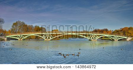 Openwork bridge in Tsaritsyno Park. State historical-architectural, art and landscape Museum-reserve, which is located in the South of Moscow and includes the Palace complex, a greenhouse, a historic landscape Park with ponds and fountains