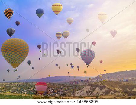Hot Air Balloon In The Mountain