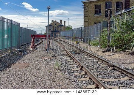 Southampton/UK. 21st August 2016. The branch line to Southampton's Ocean Terminal and QEII Terminal from the site of the old Terminus station. Only one train per day currently uses this route.