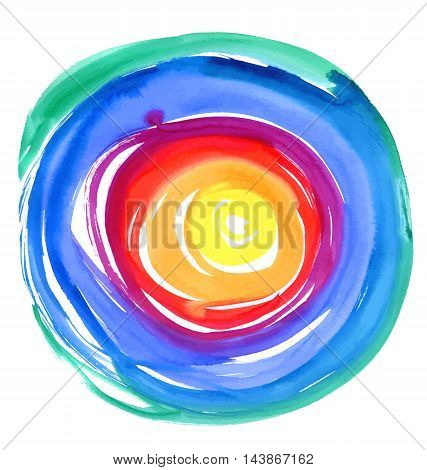 Abstract vector watercolor round background. Watercolor background for textures and backgrounds. Hand drawn watercolor backdrop
