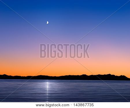 A Mythical Moonrise Over Mountains And Water As Sunset Gives Way To Twilight Photoshop Composite