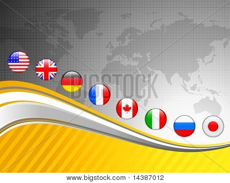 World Map with Internet Flag Buttons Background Original Vector Illustration