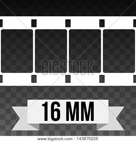 Vector 16 mm Film Strip Illustration on black transparent background. Abstract Film Strip design template. Film Strip Seamless Pattern. White banner ribbon text.