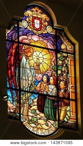 Stained Glass - Behold The Bread Of Angels - Fatima, Portugal