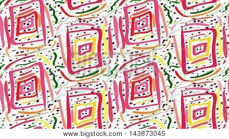 Painted Pink Squares And Green Scribbles