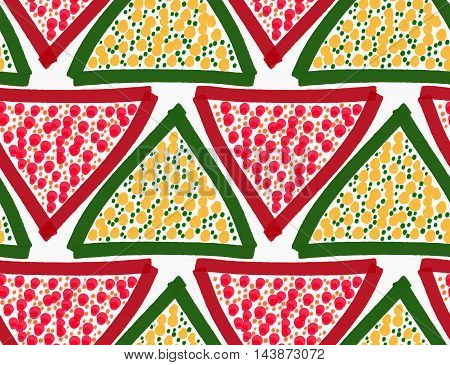 Painted Red And Green Triangles With Dots