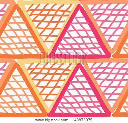 Painted Red And Orange Marker Triangles Checkered