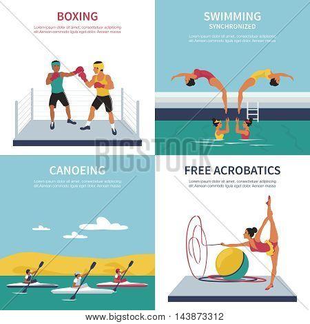 Set of illustrations on boxing synchronized swimming canoeing gymnastics. Vector flat style