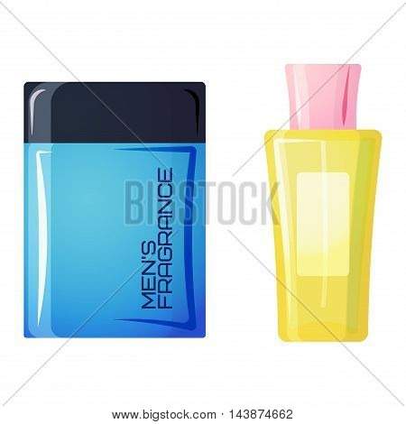 Set of vector perfume fashion container smell spray. Vector illustration perfume shop symbols elegant merchandise gift. Beauty liquid luxury fragrance aroma perfume bottle aromatherapy.
