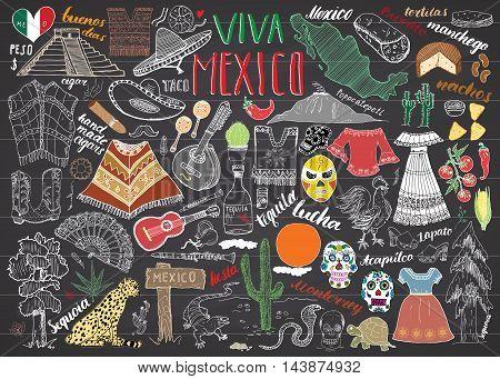 Mexico Hand Drawn Sketch Set Vector Illustration Chalkboard