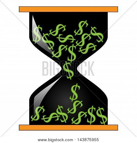 Illustration of an hourglass with dollar signs on a white background.