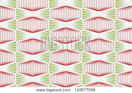 Colored 3D Red And Green Striped Squished Hexagons