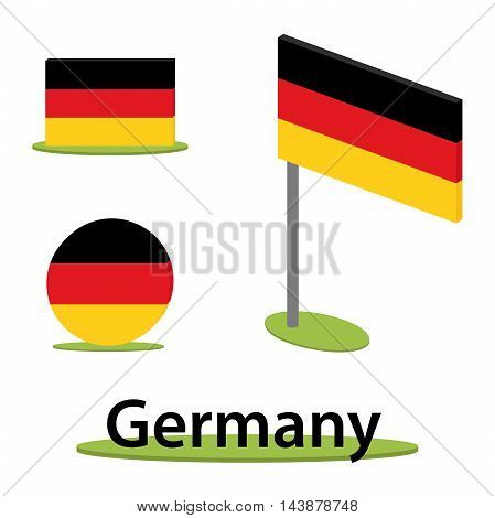 isometric set of flags from germany perspective