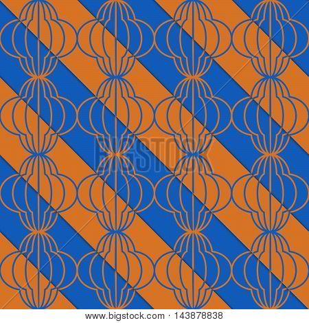Retro 3D Blue And Orange Diagonal Striped Bulbs