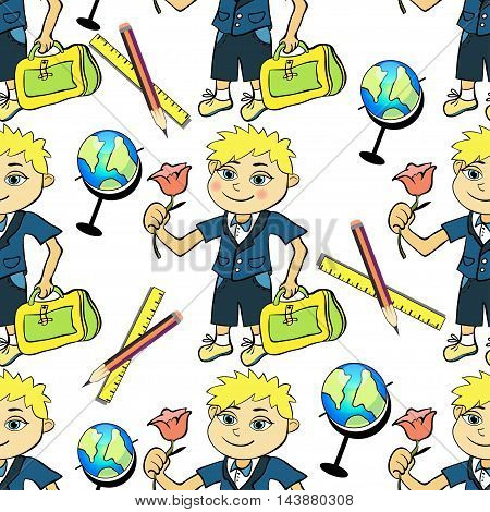 Seamless Pattern With A Student Of The First Class Boy And Globe. Vector Illustration