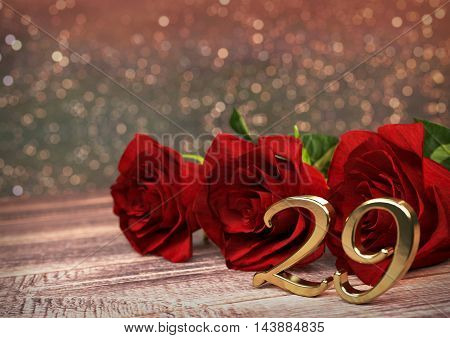 birthday concept with red roses on wooden desk. 3D render - twenty-nineth birthday. 29th