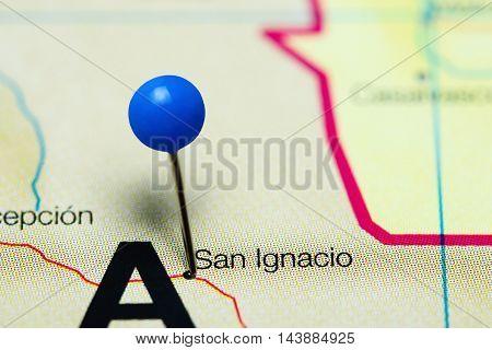 San Ignacio pinned on a map of Bolivia
