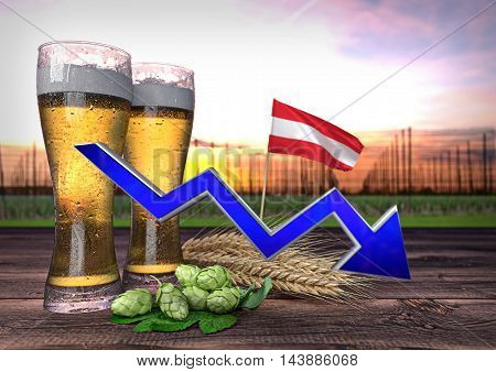 declining beer consumption in Austria - 3D render