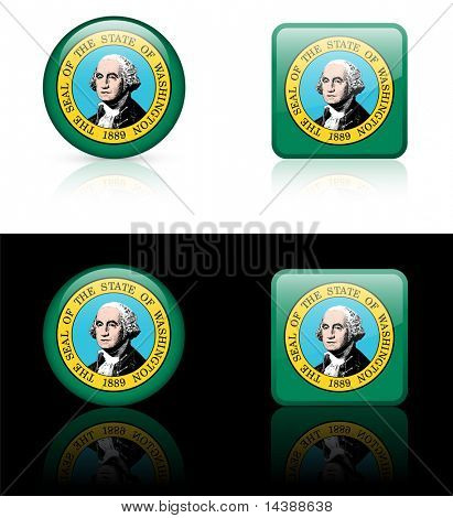 Washington Flag Icon on Internet Button Original Vector Illustration AI8 Compatible